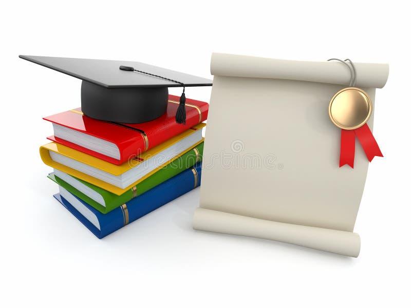 Graduação. Mortarboard, diploma e livros. ilustração do vetor