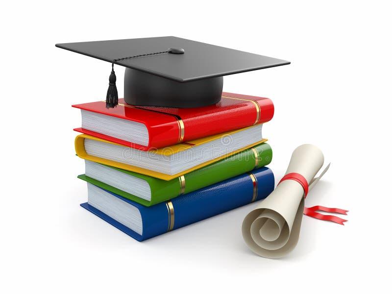 Graduação. Mortarboard, diploma e livros. 3d ilustração stock