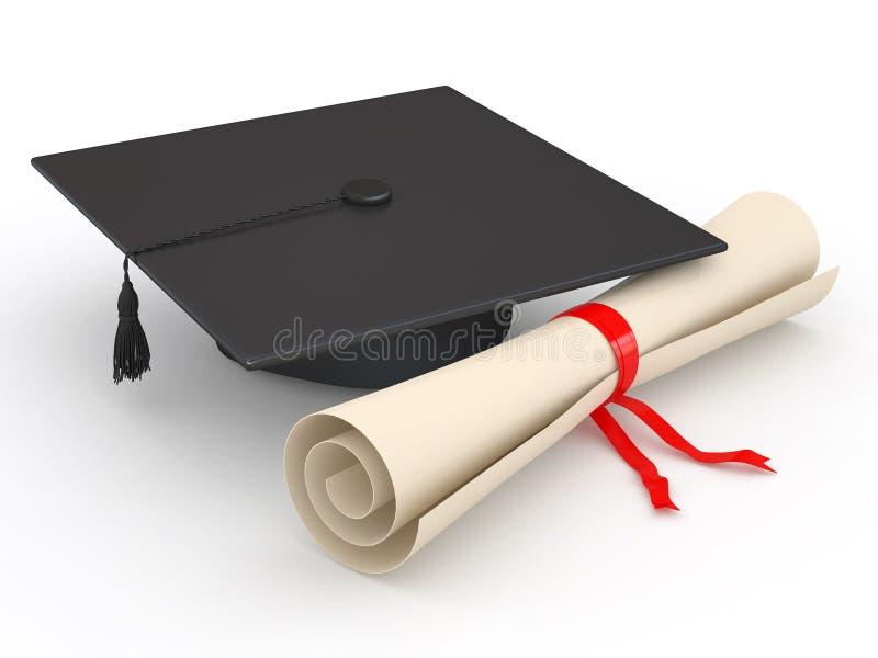 Graduação. Mortarboard e diploma. 3d ilustração stock