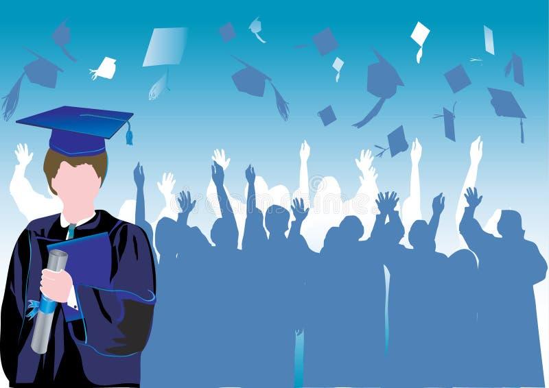 Graduação na silhueta ilustração stock
