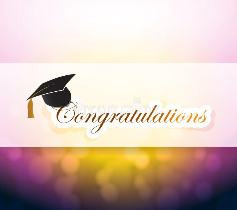 Graduação sinal da luz do bokeh das felicitações ilustração royalty free