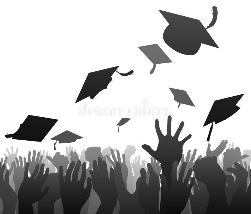 Gradua a multidão da graduação ilustração stock