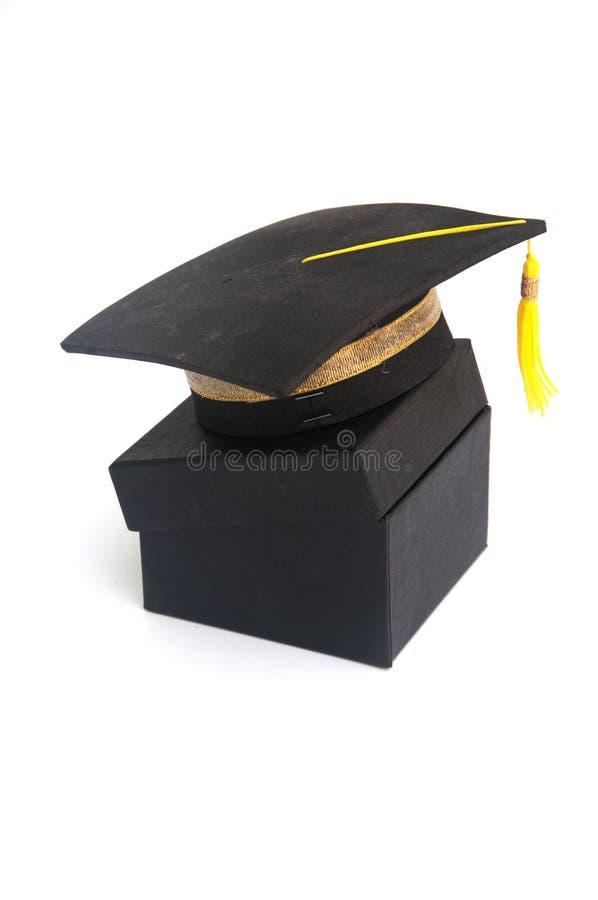 Graduación Sombrero académico cuadrado con la caja negra imágenes de archivo libres de regalías
