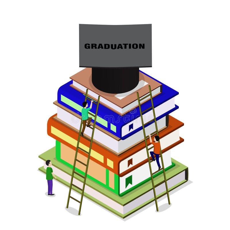 Graduaci?n isom?trica de la educaci?n de nuevo a concepto de la escuela 3d stock de ilustración