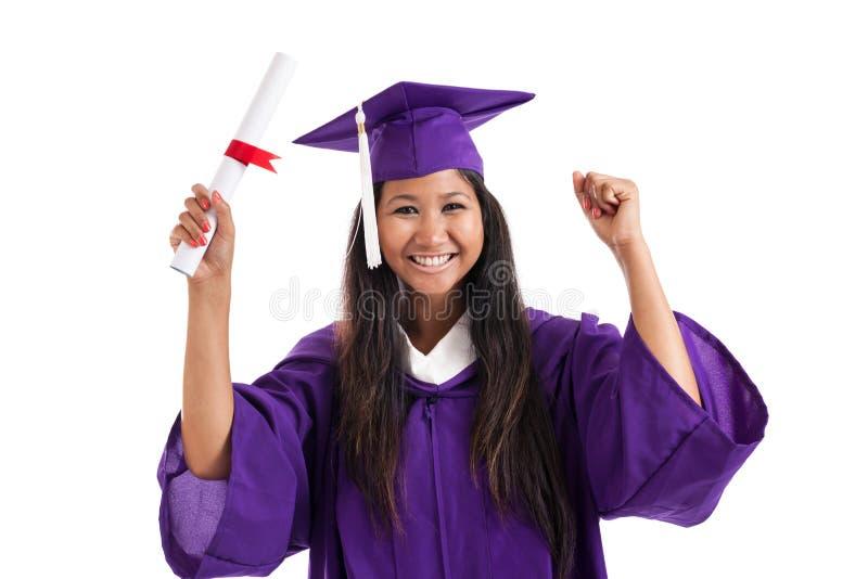 Graduado alegre de la universidad imagenes de archivo