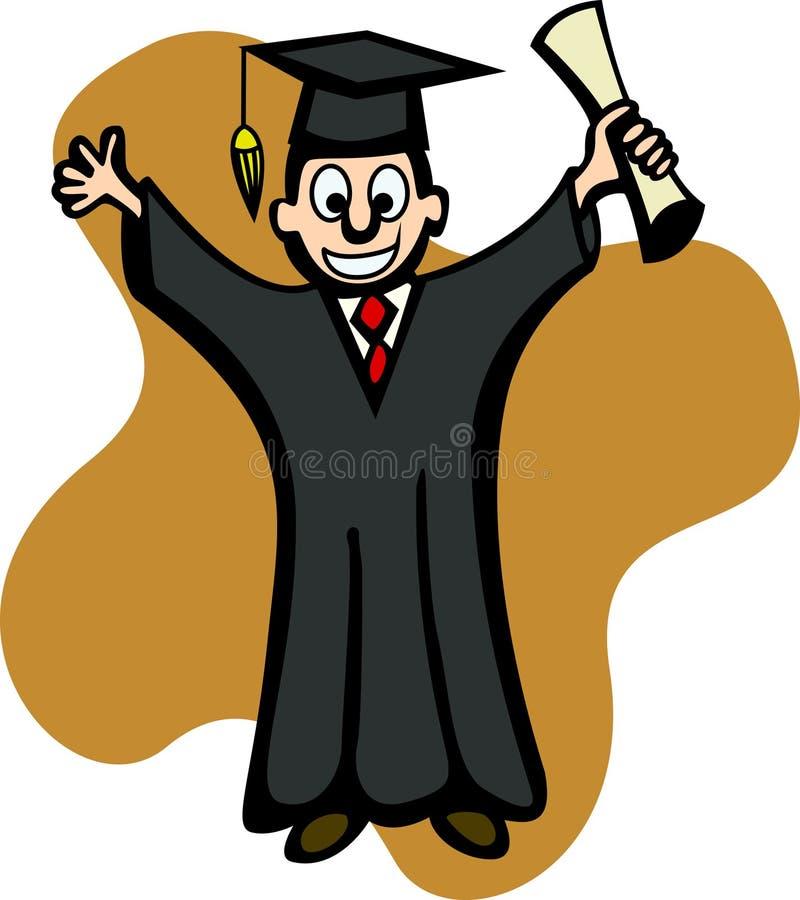 Graduado com diploma ilustração do vetor