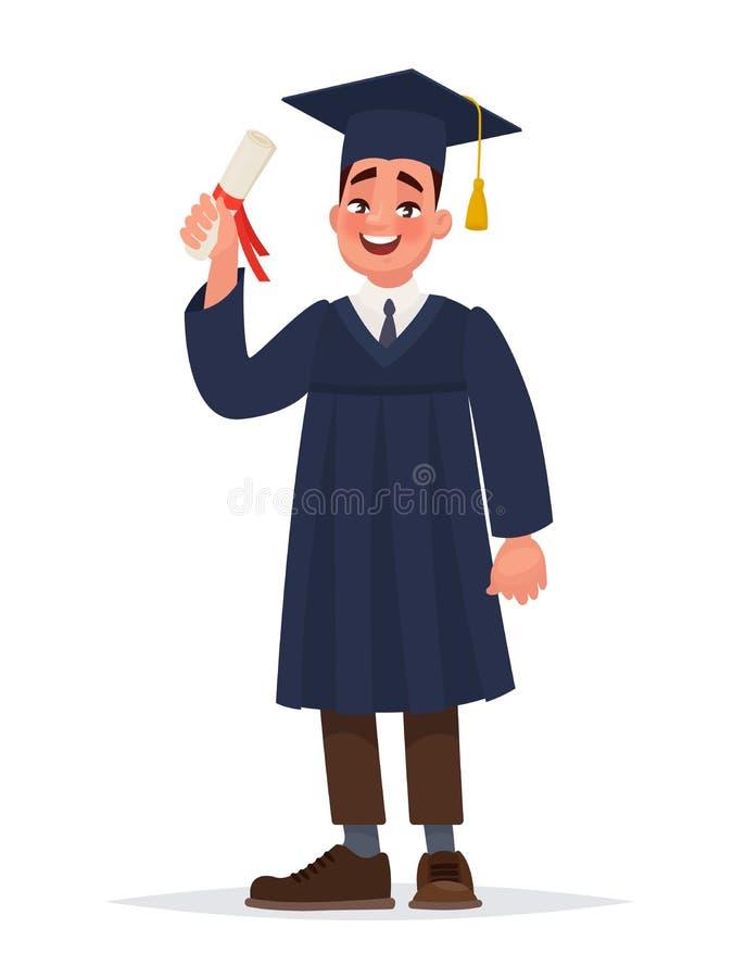 graduado com um diploma O indivíduo no envoltório terminou seus estudos na universidade ilustração royalty free