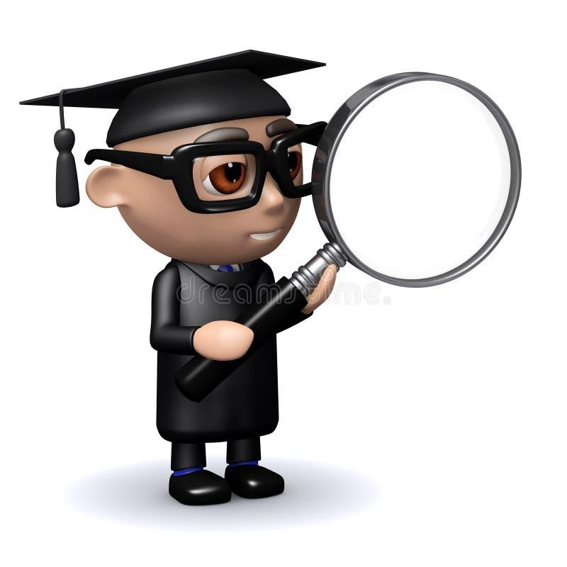Download Graduado 3d con la lupa stock de ilustración. Ilustración de estudiante - 41920956