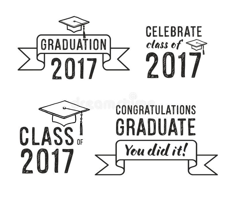 Graduado 2017 das felicitações, grupo da graduação ilustração royalty free