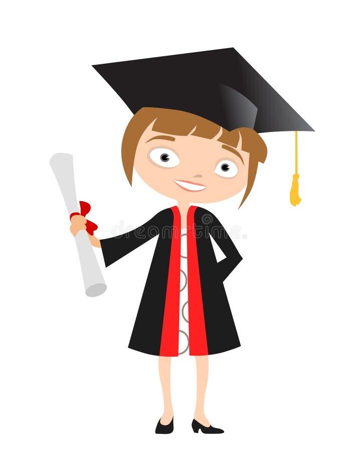 Graduado de la muchacha ilustración del vector