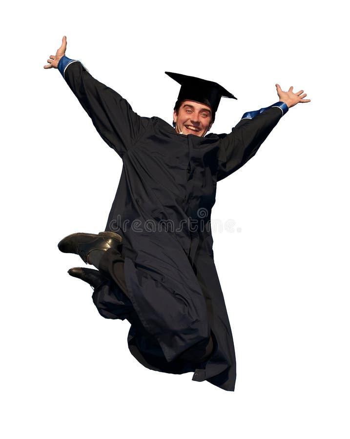 Graduado de salto feliz isolado fotografia de stock royalty free