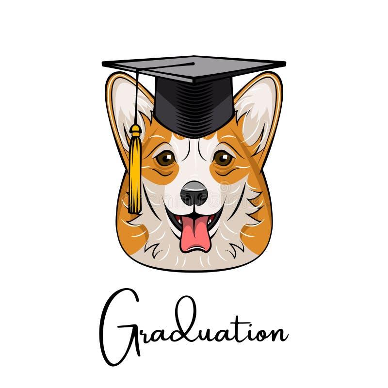 Graduado del corgi Galés Sombrero del casquillo de la graduación Retrato retro Vector stock de ilustración