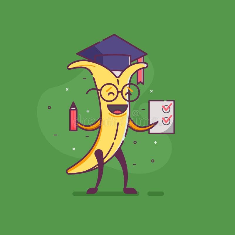 Graduado divertido del carácter del plátano de la fruta stock de ilustración