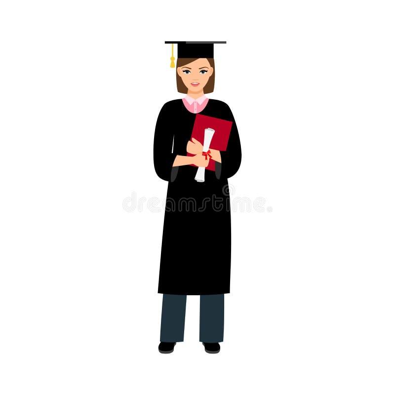 Graduado do estudante fêmea da universidade ilustração royalty free