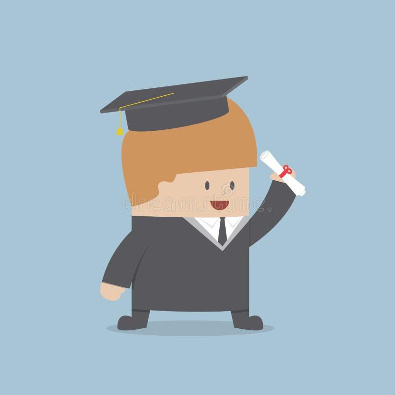 Graduado do homem de negócios no vestido e no tampão da graduação ilustração stock