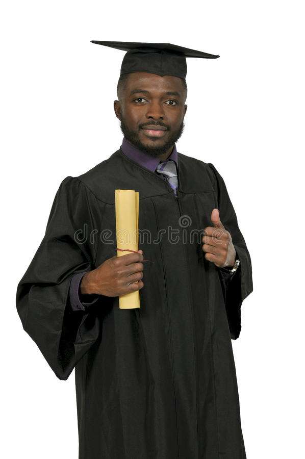 Graduado do homem negro foto de stock royalty free