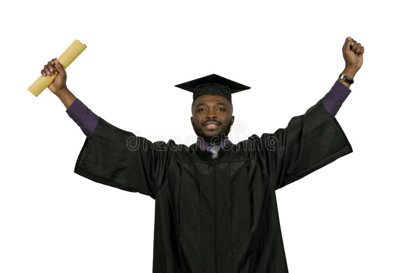 Graduado do homem negro fotografia de stock