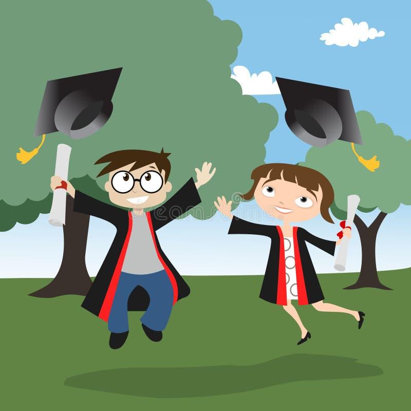 Graduado do menino e da menina ilustração royalty free