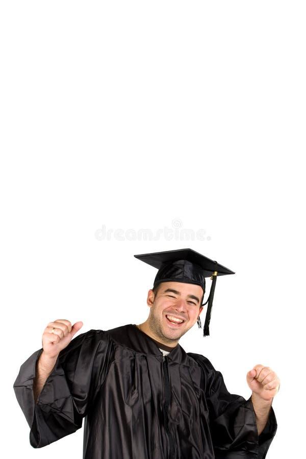 Graduado feliz que comemora foto de stock royalty free