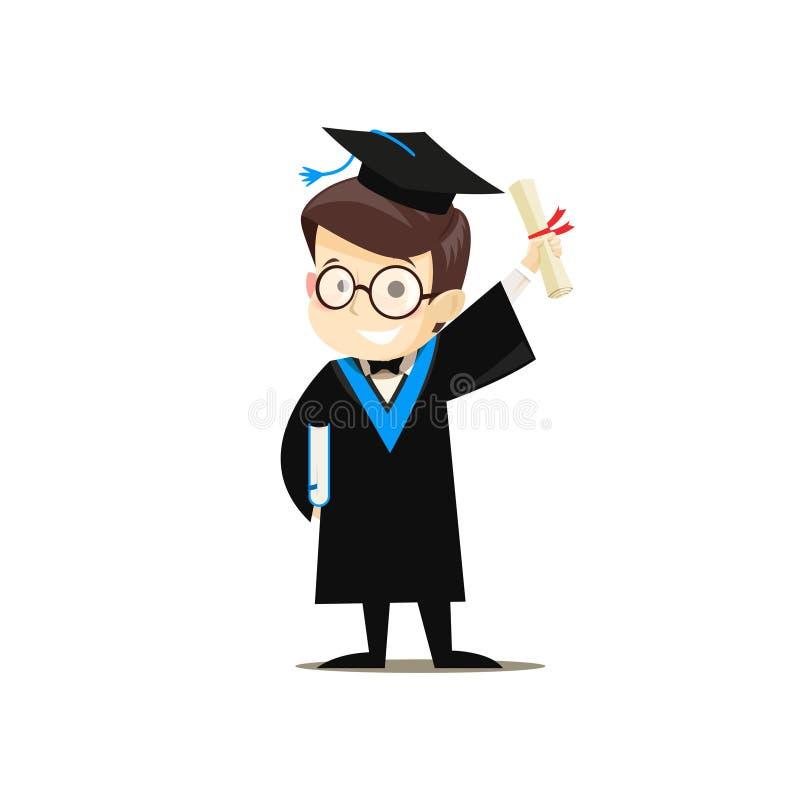 Graduado feliz que sostiene un libro y un diploma en sus manos stock de ilustración