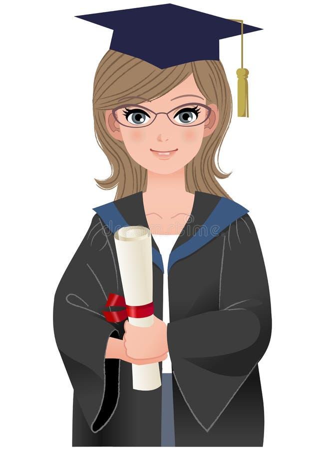 Graduado lindo de la hembra en vestido académico stock de ilustración