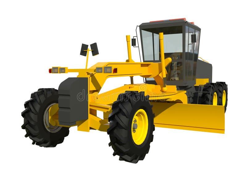 graduador Máquina escavadora Modelo tridimensional de uma máquina da construção Ilustração da quadriculação Objeto da rendição ilustração stock