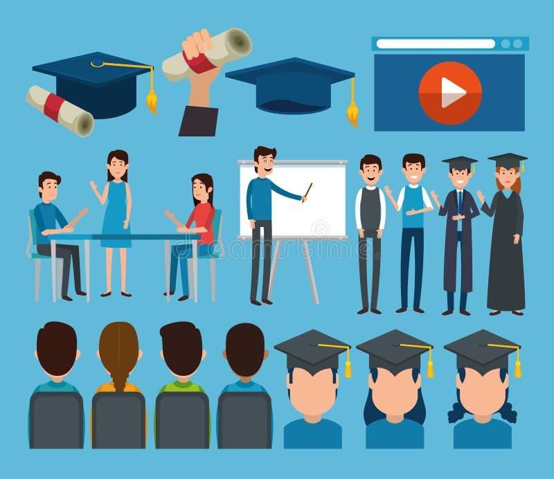 Graduados con los iconos en línea de la educación ilustración del vector