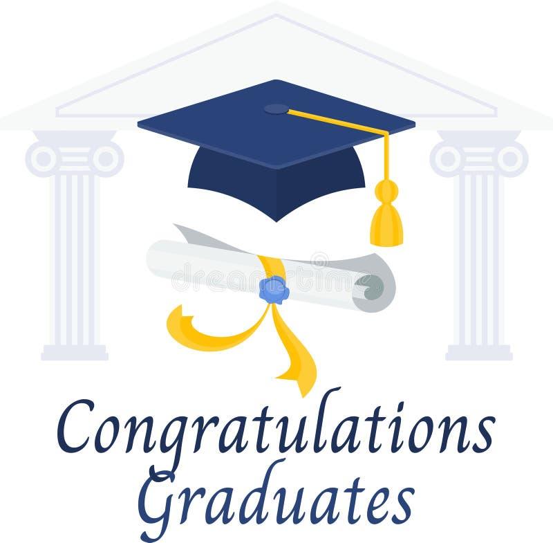 Graduados das felicitações Diploma e tampão da graduação ilustração do vetor