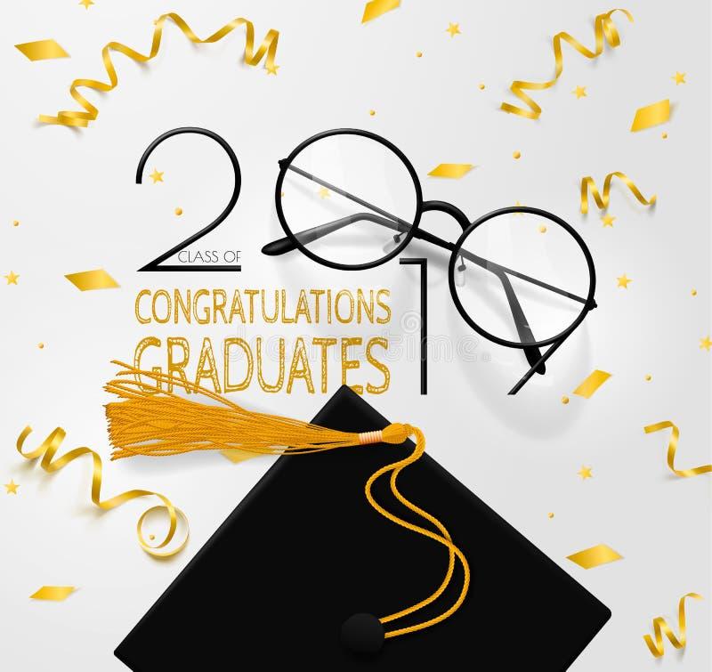 Graduados das felicita??es Rotula??o para uma classe da gradua??o de 2019 E ilustração royalty free