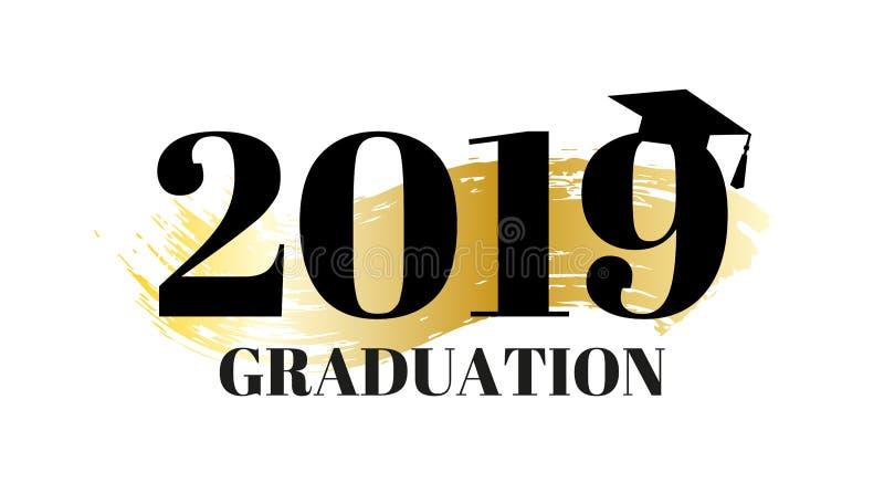 Graduados de Congrats, clase de 2019 Bandera de la fiesta de graduaci?n con el fondo del oro y el sombrero de la graduaci?n Logot ilustración del vector