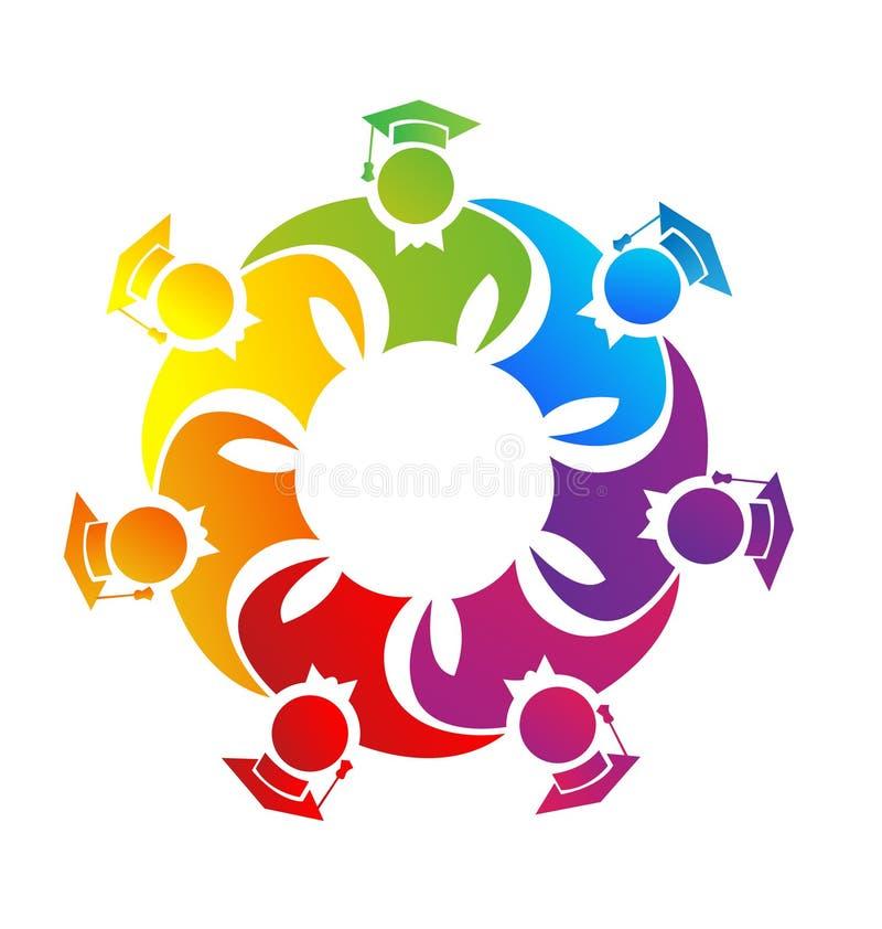 Graduados en un grupo del equipo Símbolo del vector del logotipo libre illustration