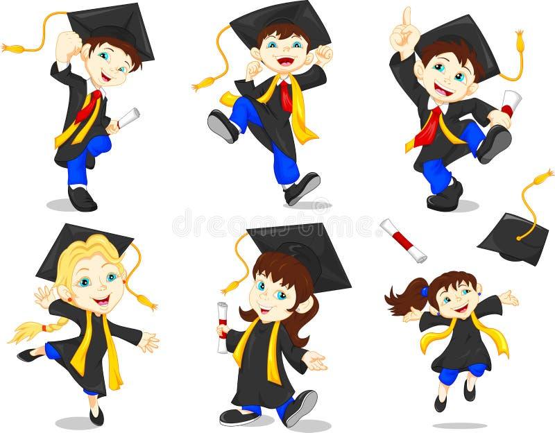 Graduados felizes ilustração do vetor