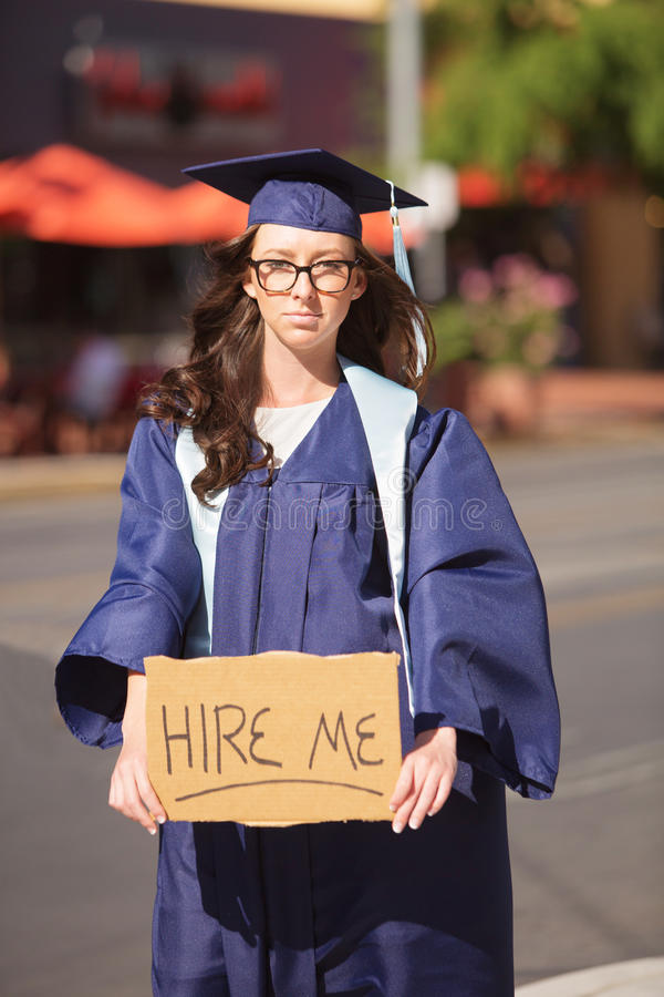 Graduate Begging for Work royalty free stock photo