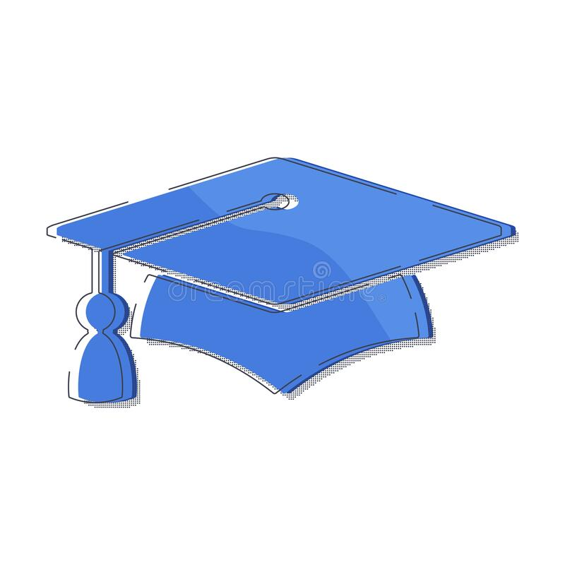 Graduate cap blue halftone logo. University mortarboard. Badge for banner, poster or flyer for Graduation party. Congratulation with Scientific degree stock illustration