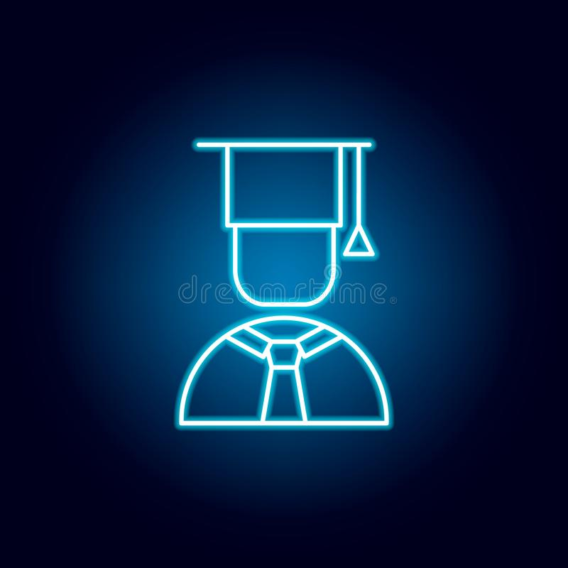 graduate, cap, boy outline icon in neon style. elements of education illustration line icon. signs, symbols can be used for web, stock illustration