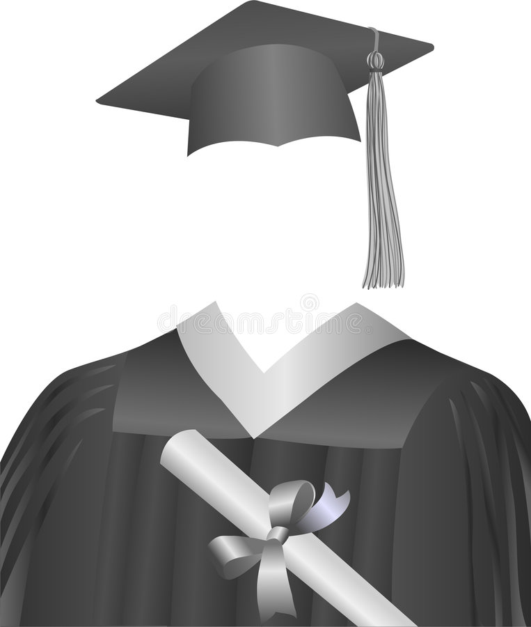 Graduate Cap, Gown, & Diploma. Illustration of a graduate's cap, gown and diploma...arranged as though the person wearing them is invisible...symbolizes every vector illustration