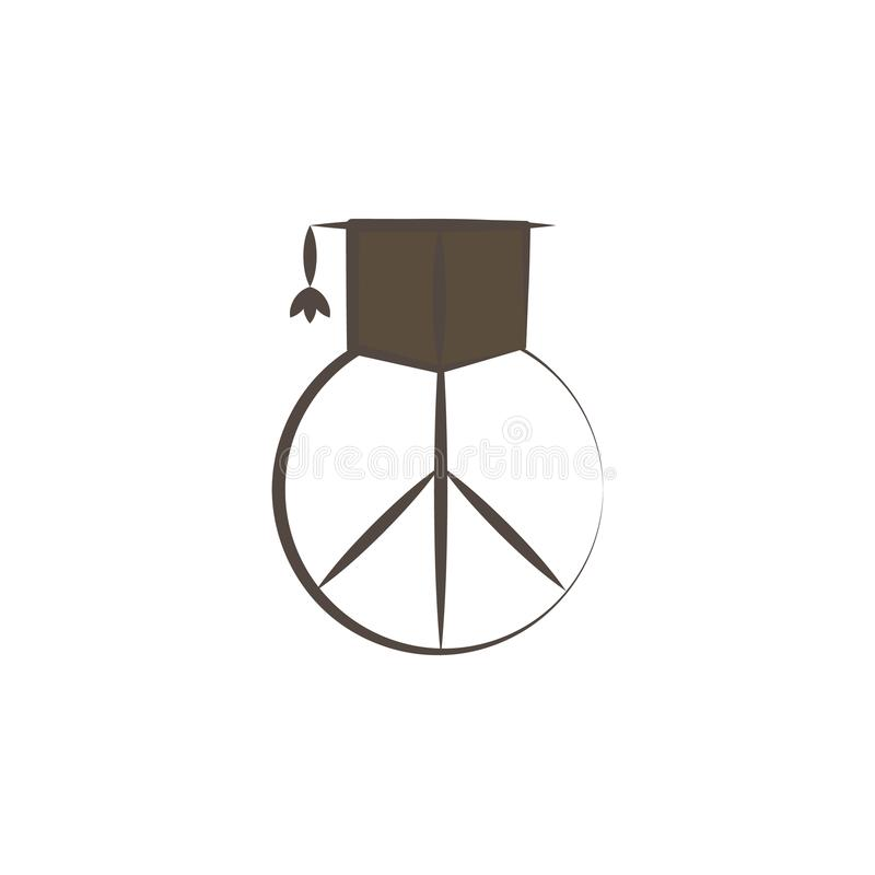 graduate cap and peace sign sketch style icon. Element of peace hand drawn icon. Premium quality graphic design icon. Signs and sy royalty free illustration