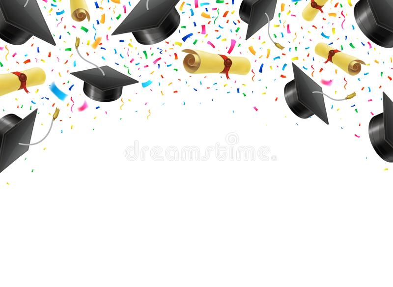 Graduate caps and diplomas flying with multi colored confetti. Academic hats in air with ribbons vector illustration