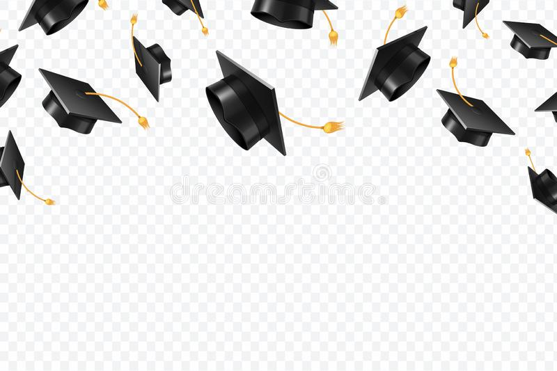 Graduate caps flying. Black academic hats in air. Education isolated vector concept. Finish college education, graduation school illustration stock illustration
