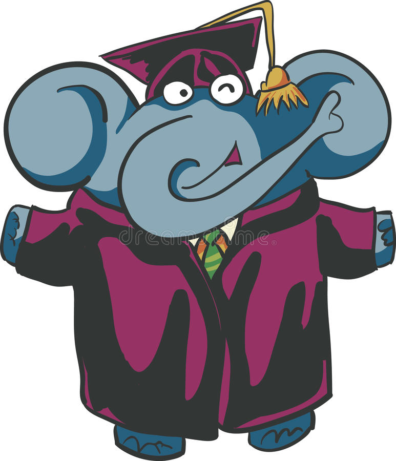 Graduate Elephant stock vector. Illustration of funny - 51611133