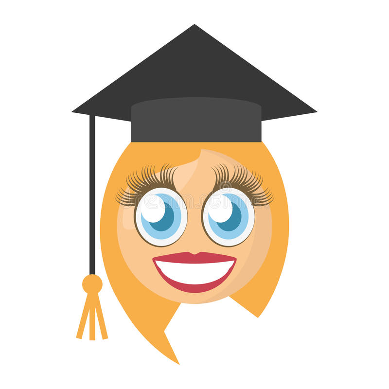 graduate female emoticon royalty free illustration