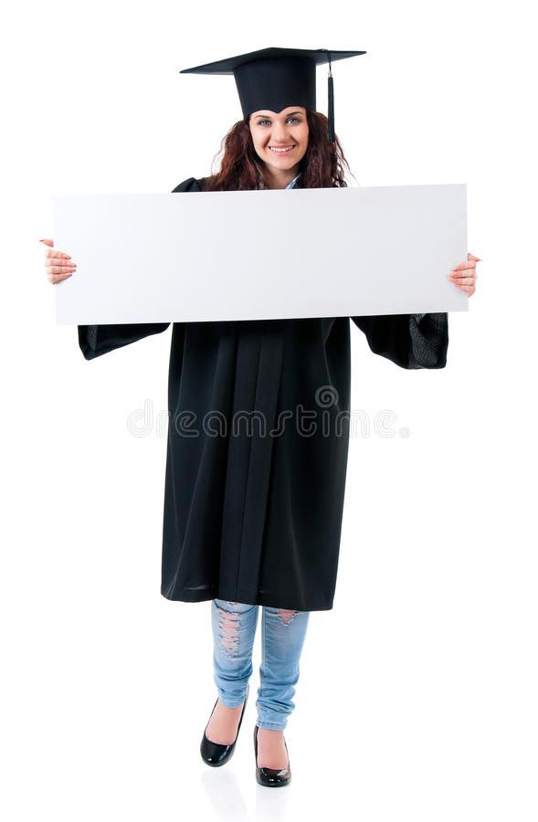 Graduate girl student in mantle showing blank stock photography