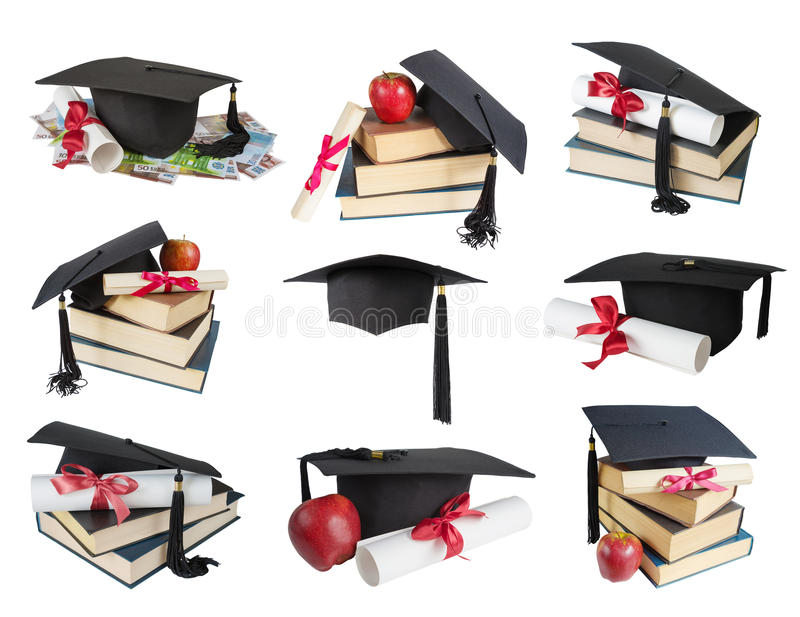 Graduate hat, books and scroll stock image