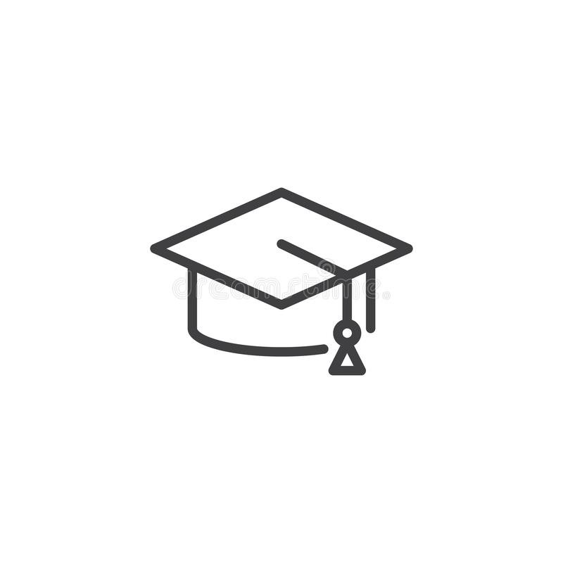 Graduate hat outline icon. Linear style sign for mobile concept and web design. Mortarboard simple line vector icon. Education symbol, logo illustration stock illustration