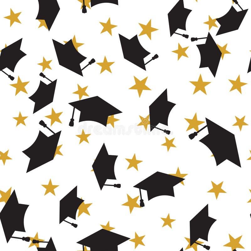 graduate hat seamless pattern stock vector
