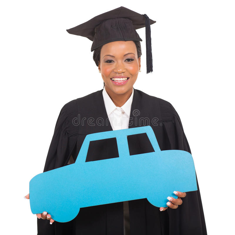 Graduate holding car symbol stock image