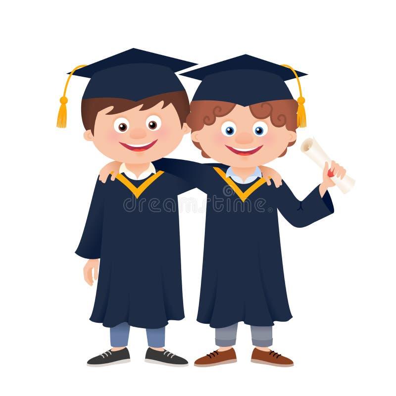 Graduate hugging students, cartoon vector vector illustration