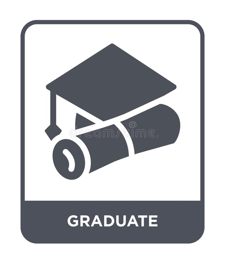 Graduate icon in trendy design style. graduate icon isolated on white background. graduate vector icon simple and modern flat. Symbol for web site, mobile, logo stock illustration