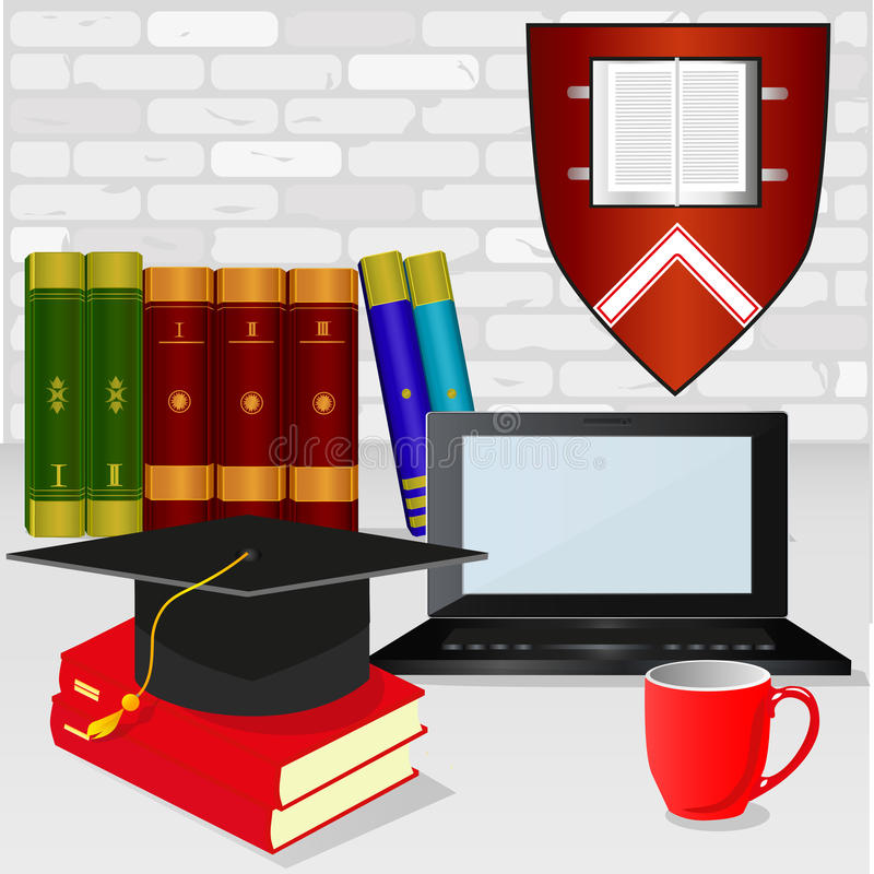 Graduate. The interior of the room with a white birch wall, with books, an emblem, a laptop and an academic cap. Format EPS available vector illustration