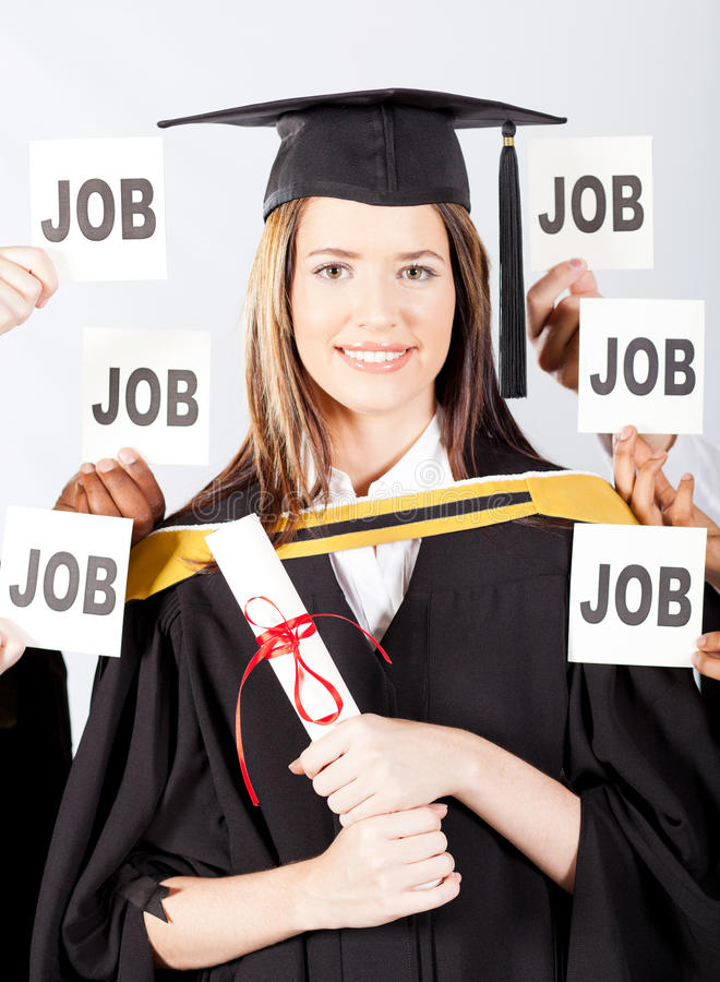 Graduate with job offers stock images